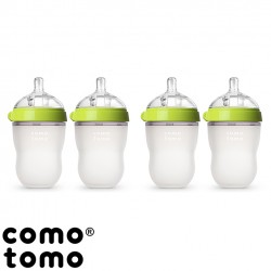 Kit com 4 Mamadeiras Comotomo® Green 250 ml