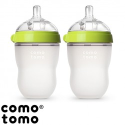 Kit com 2 Mamadeiras Comotomo® Green 250 ml